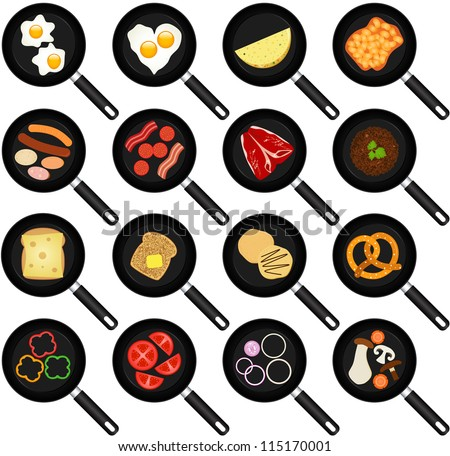 A vector collection of Breakfast Ingredients : Fried Food In Non-stick Frying Pans/Skillets - stock vector