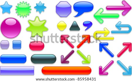 A vector collection of colored web buttons. - stock vector