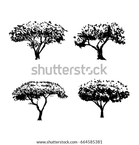 a vector collection of hand drawn doodle trees black and white marker drawing great - Architecture Drawing Of Trees