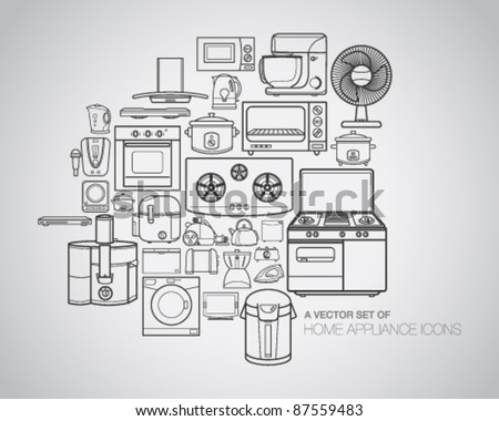 A vector collection of home appliance icons and line illustrations. - stock vector