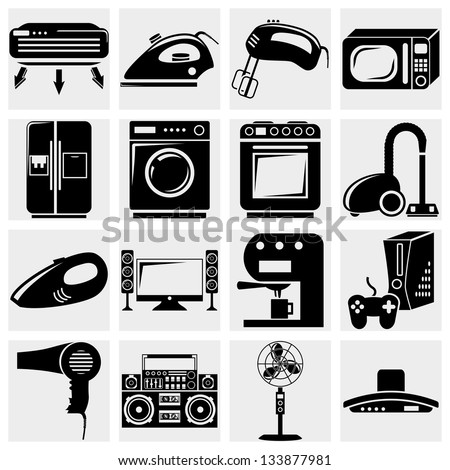A vector collection of home appliances icons set on gray - stock vector