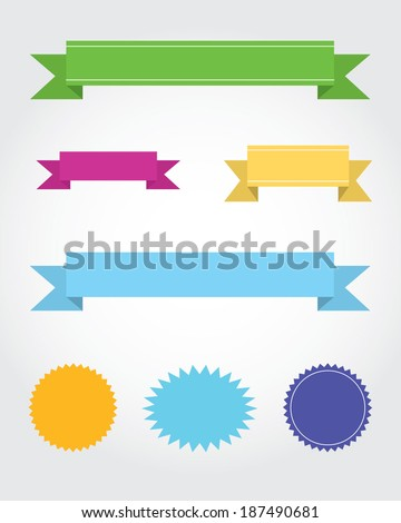 A vector collection of multicolour starbursts and banners - stock vector