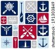 A vector collection of nautical icons. - stock vector