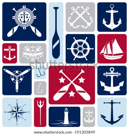 A vector collection of nautical icons. - stock vector