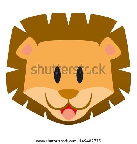 A vector cute cartoon baby lion icon - stock vector