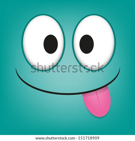 A Vector Cute Cartoon Blue Face With Tongue Out - stock vector