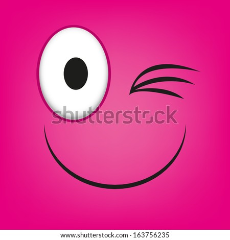 A Vector Cute Cartoon Pink Winking Face - stock vector