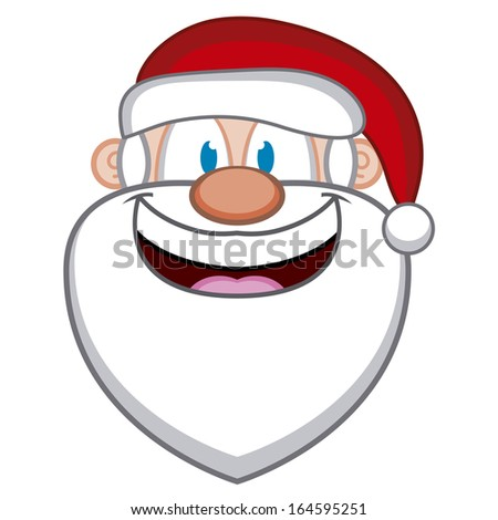 A Vector Cute Cartoon Santa Claus Laughing Face - stock vector