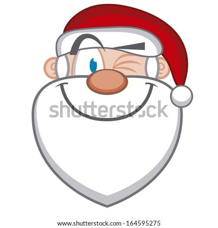 A Vector Cute Cartoon Santa Claus Winking Face - stock vector
