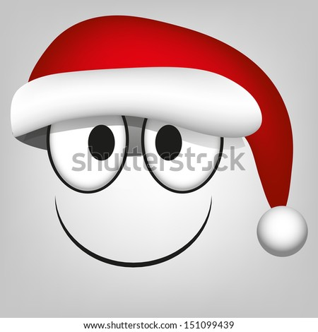 A Vector Cute Cartoon White Face With Santa Claus Hat - stock vector