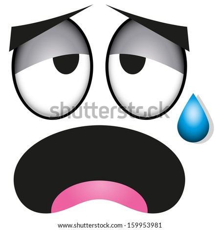 vector cute cartoon white tired face stock vector 159953981 rh shutterstock com Angry Cartoon Face Sick Face Cartoon