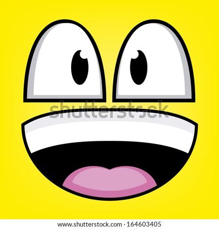 A Vector Cute Cartoon Yellow Laughing Face - stock vector