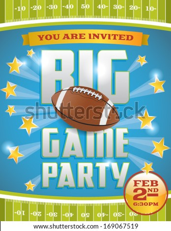 A vector flyer design perfect for tailgate parties, football invites, etc. EPS 10. File contains transparencies and gradient mesh. Text is layered for easy removal and customizing. - stock vector