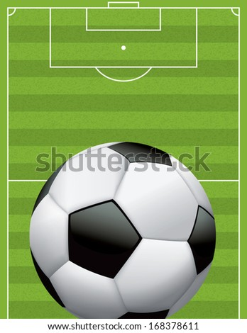 A vector football - soccer ball on a grass textured field. EPS 10. File contains transparencies and a gradient mesh. - stock vector