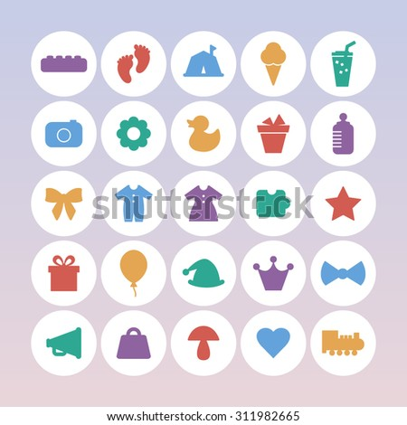 A vector graphic icon set for baby and kids, gift, balloon, hat, crown, mic, mushroom. heart, train, clothes, puzzle, star, foot, camping, ice cream, juice, camera, flower, duck, pot, baby bottle.