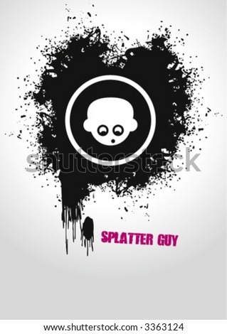 A Vector guy in the middle of an ink-drop - stock vector