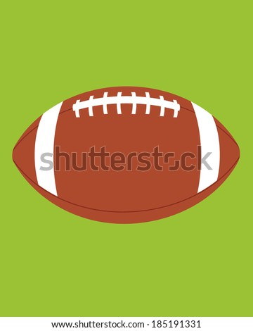 A vector icon of a football set against a green field background