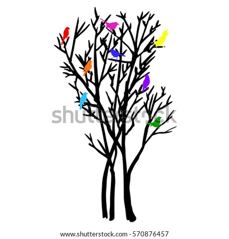 vector illustration cute silhouette tree sitting stock