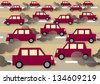 A vector illustration about traffic, commuting and pollution. - stock
