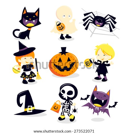 A vector illustration collection of halloween trick and treat holiday icons and happy characters.