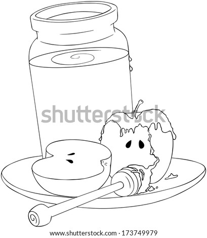 A Vector Illustration coloring page of a honey jar and sliced apple covered with honey and wooden stick on a plate for the Jewish New Year�¢??s.  - stock vector