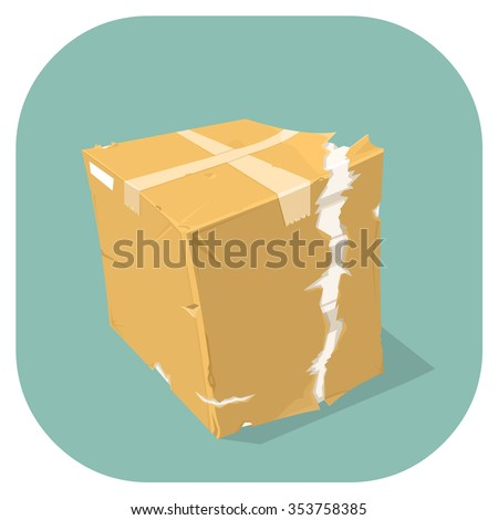 A vector illustration icon of a badly damaged cardboard delivery box. Concept for damaged goods.