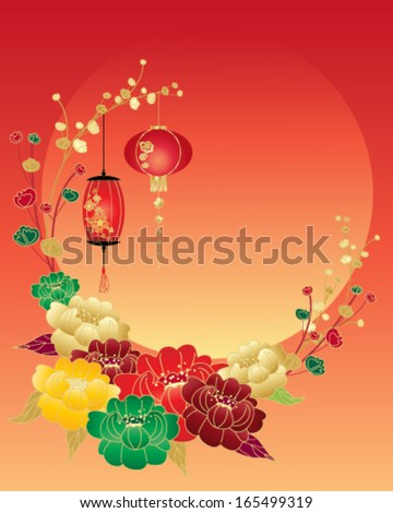 a vector illustration in eps 10 format of a Chinese new year greeting card with red green yellow and gold peony flowers and lanterns surrounding a big setting sun and space for text - stock vector