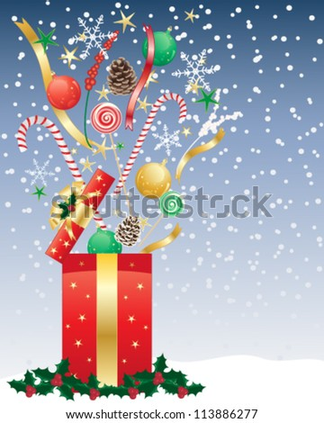 a vector illustration in eps 10 format of a christmas present opening with candy baubles snowflakes and ribbons flying into a night time snowy sky
