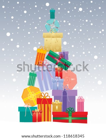 a vector illustration in eps 10 format of a christmas tree made up of gifts in different shaped boxes with colorful wrappings and ribbon on a snowy background