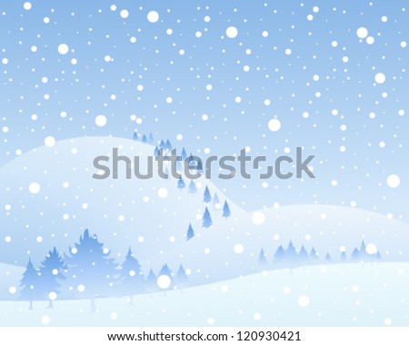 a vector illustration in eps 10 format of a frozen landscape with snow covered hills and fir trees in a winter snow shower under a blue sky