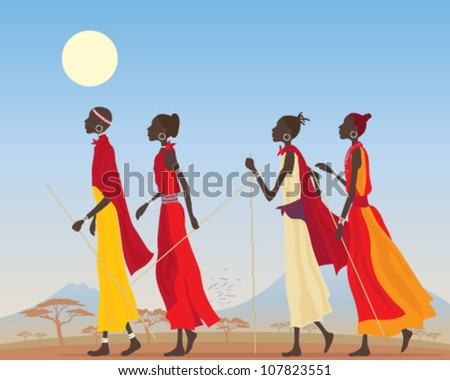 a vector illustration in eps 10 format of a group of masai women dressed in traditional clothing walking through a kenyan landscape under a hot blue sky - stock vector
