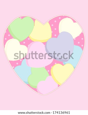 a vector illustration in eps 8 format of a pastel color love heart background greeting card with sugar sweets on a dotty background - stock vector