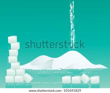 a vector illustration in eps 10 format of a pile of fine white sugar with sugar cubes and granules on a jade green background - stock vector