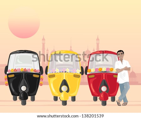 a vector illustration in eps 10 format of a row of parked auto rickshaws in different colors with an asian taxi driver in a white shirt under an urban setting sun - stock vector