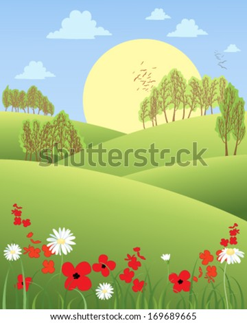 a vector illustration in eps 10 format of a rural summer morning with rolling hills wildflowers and trees with a big yellow sun