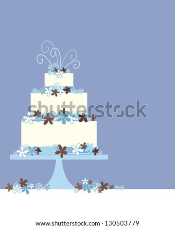 a vector illustration in eps 10 format of a three tier wedding cake greeting card with flower and swirl decoration on a blue background with space for text - stock vector