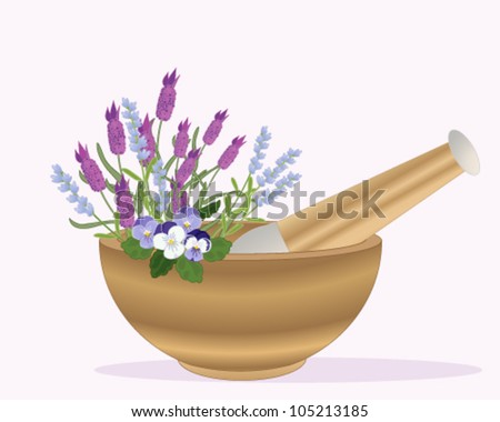 a vector illustration in eps 10 format of a wooden pestle and mortar with lavender and pansy flowers on a pink background - stock vector