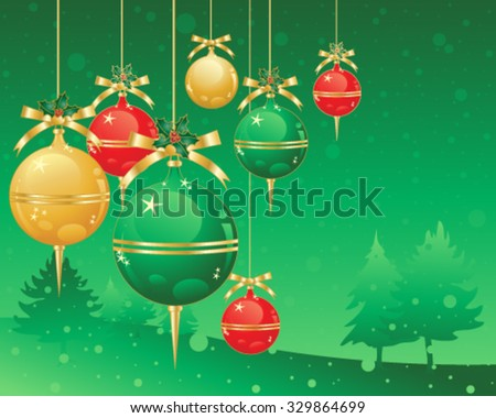 a vector illustration in eps 10 format of christmas decorations in red gold and green metallic baubles on a snowy green background - stock vector