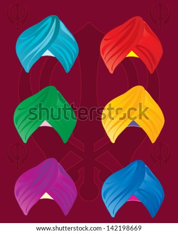 a vector illustration in eps 10 format of colorful sikh turbans on a red background with sikh symbol - stock vector