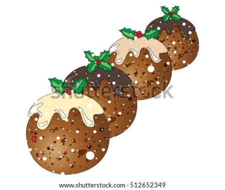 a vector illustration in eps 10 format of four festive christmas puddings with holly decoration on a snowy white background