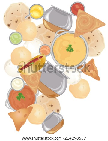 a vector illustration in eps 10 format of indian street food including samosas idly chapati;curries dahl and dosas scattered on a white background - stock vector