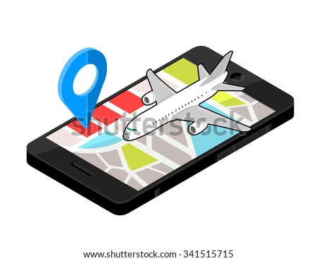 A vector illustration of a airport locater. Icon illustration of an Isometric Airport on Mobile phone . Wireless device with locater map app device. - stock vector