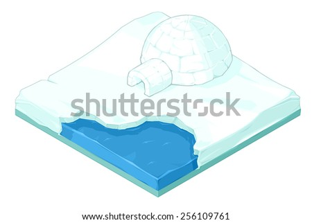 A vector illustration of a Arctic snow scene with igloo and sea water.  Isometric Igloo on ice.  Arctic snow scene with igloo. - stock vector