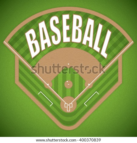A vector illustration of a baseball field from above view. - stock vector