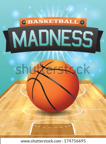 A vector illustration of a basketball on a hardwood court. EPS 10. File contains transparencies and gradient mesh. - stock vector