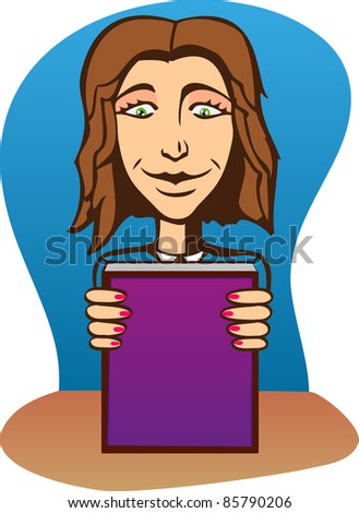 A vector illustration of a beautiful girl with book.  Can be recolored or scaled without problems and quality loss. - stock vector