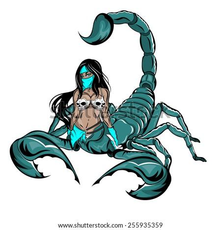 A vector illustration of a beautiful half woman scorpion wearing a skull bikini holding a white boomerang.   - stock vector
