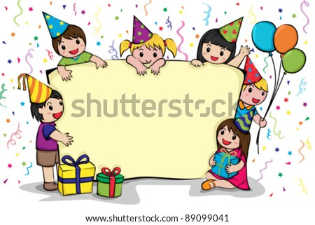 A vector illustration of a birthday party invitation card - stock vector