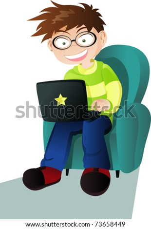A vector illustration of a boy with a laptop - stock vector