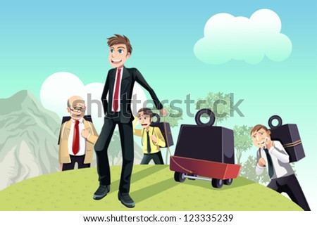 A vector illustration of a business concept of working smarter - stock vector